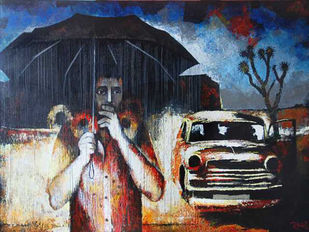 It Was Raining That Day... by Studio Zaki, Impressionism Painting, Acrylic on Canvas, Blue color