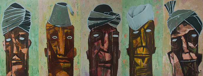 Secular Outlook by Studio Zaki, Expressionism Painting, Acrylic on Canvas, Brown color