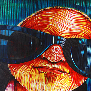 Through Tinted Glasses by Studio Zaki, Expressionism Painting, Acrylic on Canvas, Blue color