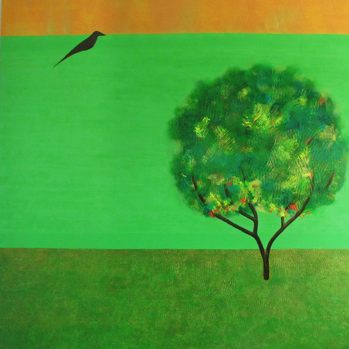 Mynha and Tree by Studio Zaki, Impressionism Painting, Acrylic on Canvas, Green color