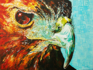Hawk-Eye by Studio Zaki, Expressionism Painting, Acrylic on Canvas, Brown color