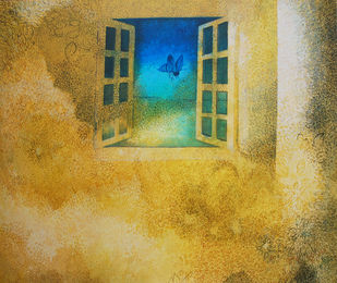 Promise of Freedom by Studio Zaki, Conceptual Painting, Acrylic on Canvas, Beige color