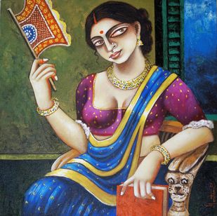 Chaarulata by Gautam Mukherjee, Traditional Painting, Acrylic on Canvas, Beige color