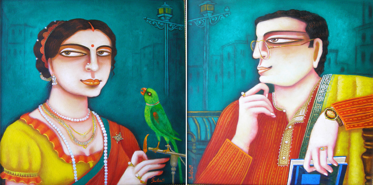 Chaarulata & Bhupati by Gautam Mukherjee, Traditional Painting, Acrylic on Canvas, Cyan color