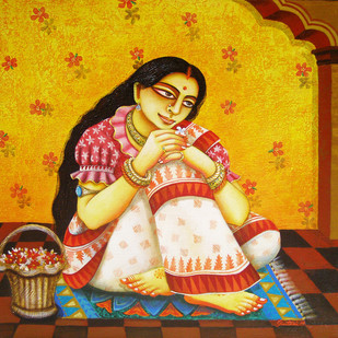 Chaarulata by Gautam Mukherjee, Traditional Painting, Acrylic on Canvas, Brown color