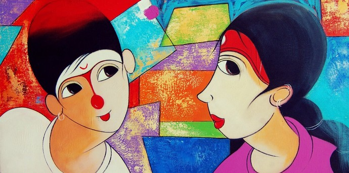 Love 2 by Dnyaneshwar Bembade, Decorative Painting, Acrylic on Canvas, Brown color