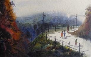 """Landscape - III"" - Painting by Anirban Seth"