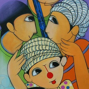 Friends by Dnyaneshwar Bembade, Decorative Painting, Acrylic on Canvas, Brown color