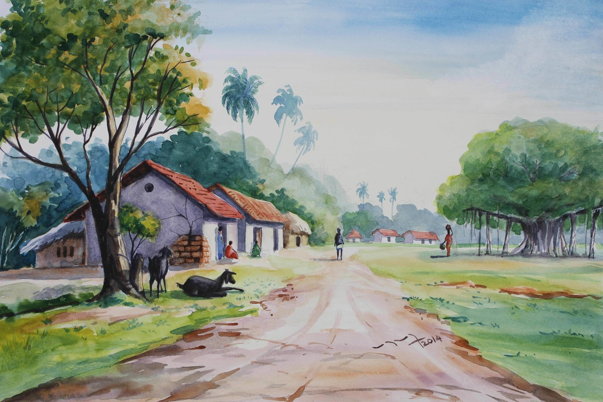 Village life landscape by balakrishnan s impressionism painting watercolor on paper green color