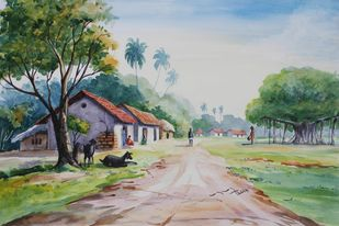 Village Life Landscape by Balakrishnan S, Impressionism Painting, Watercolor on Paper, Green color