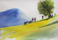 Village Life Landscape by Balakrishnan S, Impressionism Painting, Watercolor on Paper, Beige color