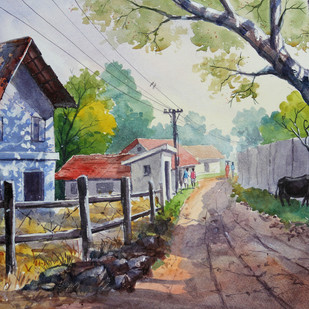 Village Life Landscape by Balakrishnan S, Impressionism Painting, Watercolor on Paper, Brown color