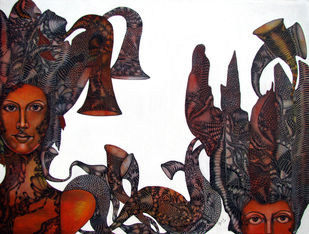 Untitled1 by Umed Rawat, Painting, Acrylic on Canvas, Brown color
