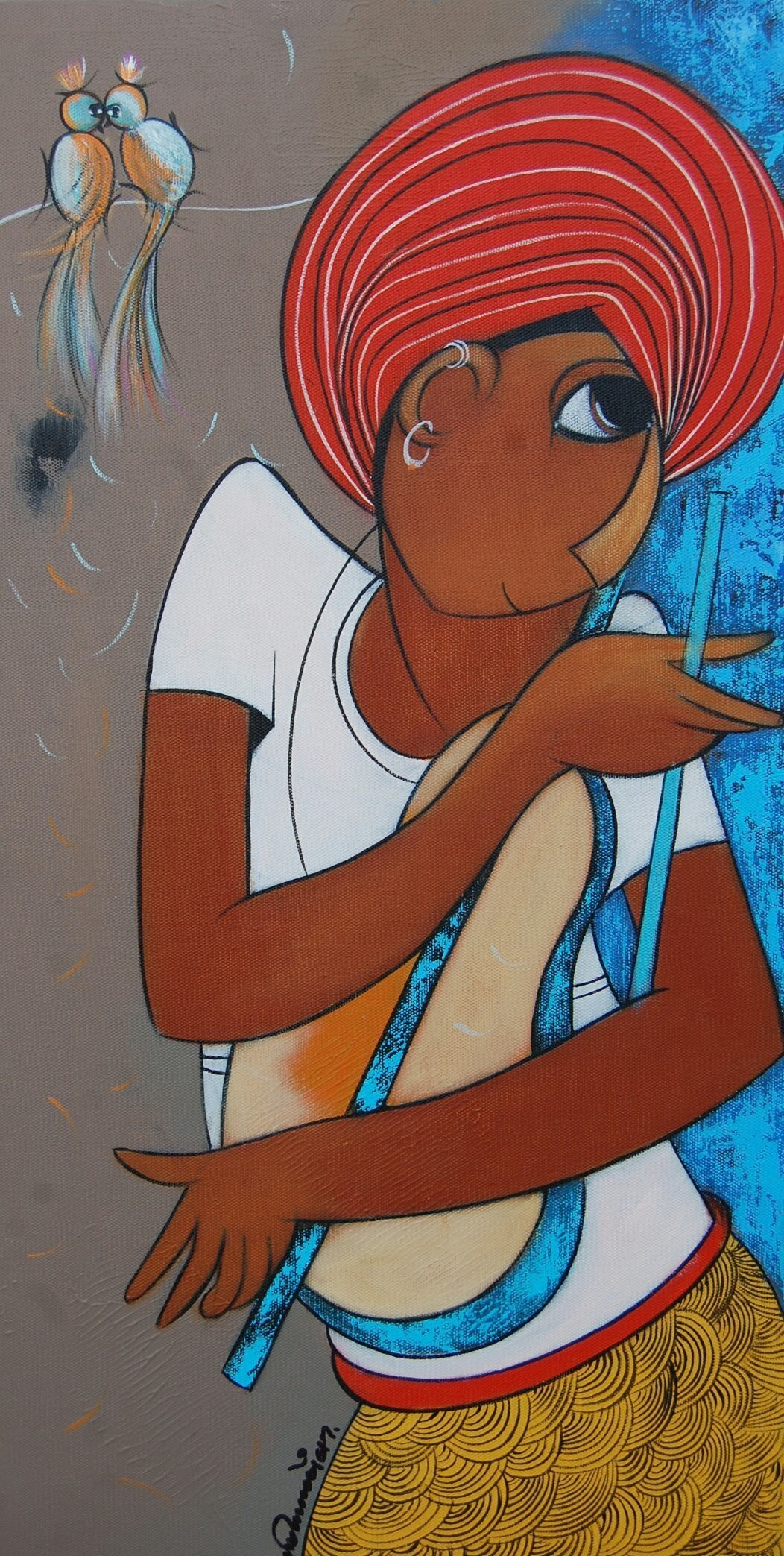 Composer by Dnyaneshwar Bembade, Decorative Painting, Acrylic on Canvas, Brown color