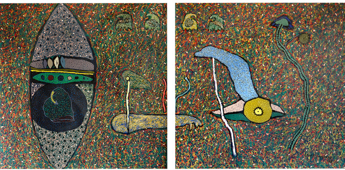 Untitled by Sandeep Ghule, Decorative Painting, Mixed Media on Canvas, Green color