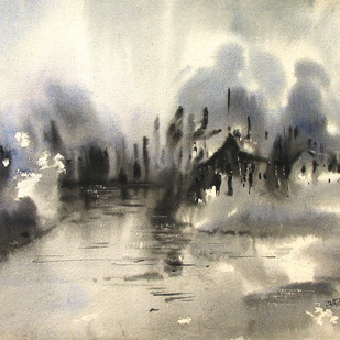 Marshy Land 2 by Asim Paul, Impressionism Painting, Watercolor on Paper, Beige color