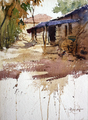 Pali village1 by Vikrant Shitole, Impressionism Painting, Watercolor on Paper, Brown color