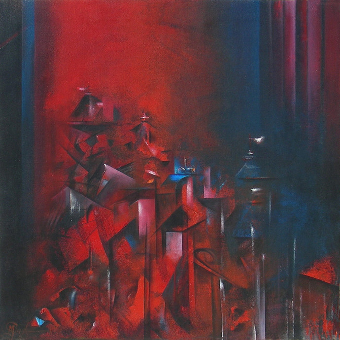 Homily by M Singh, Impressionism Painting, Acrylic on Canvas, Brown color