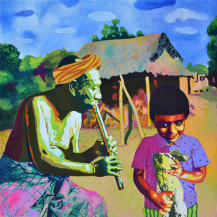 The Harmony of Generations by Gayatri Artist, Photorealism Painting, Acrylic on Canvas, Green color