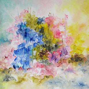 Eternal Spring PB by Shan Re, Impressionism Painting, Acrylic on Canvas, Beige color