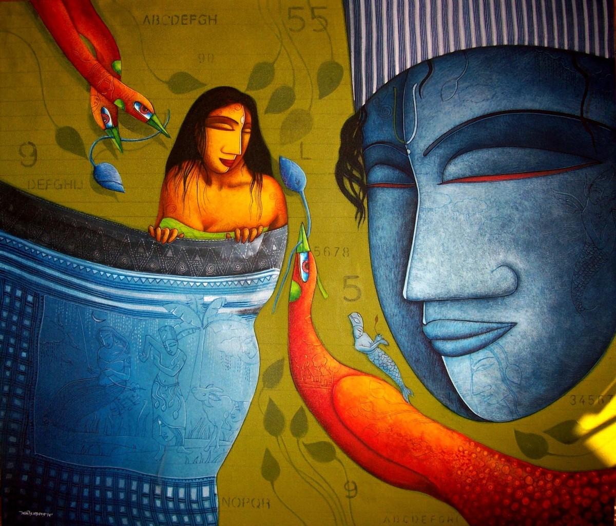 The Love by Samir Sarkar, Painting, Acrylic on Canvas, Blue color
