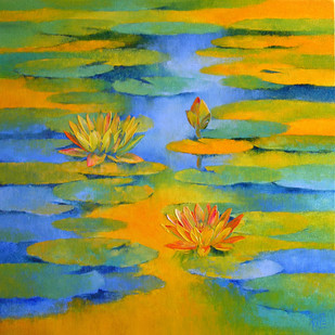 Water Lilies - 59 by Swati Kale, Impressionism Painting, Oil on Canvas, Green color