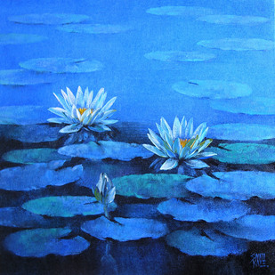Water Lilies - 60 by Swati Kale, , , Blue color