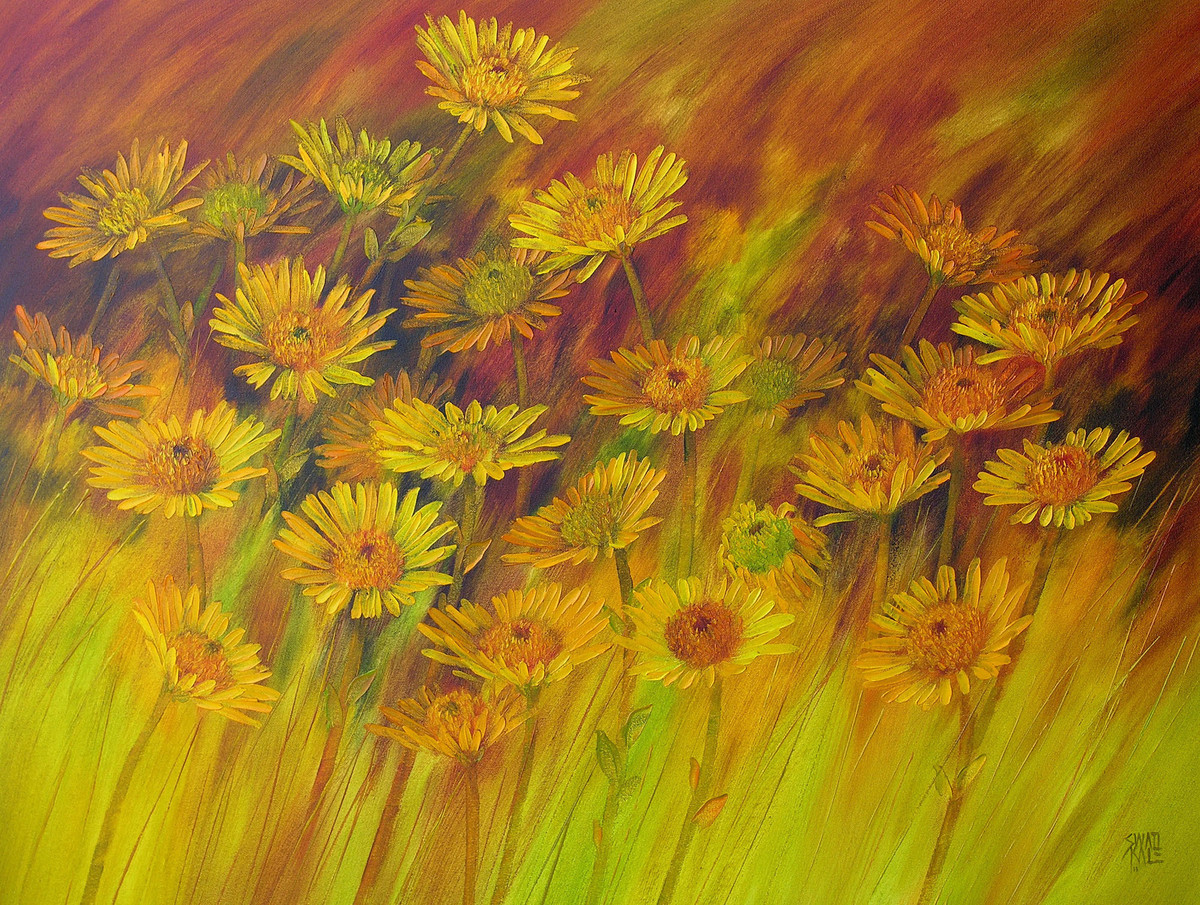 The Bloom - 15 by Swati Kale, Impressionism Painting, Oil on Canvas, Brown color