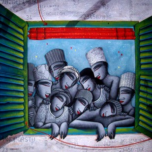 Last Saffer by Samir Sarkar, Painting, Acrylic on Canvas, Blue color