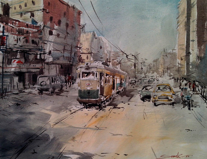 Kolkata IV by Susanta Das, Impressionism Painting, Acrylic on Canvas, Brown color