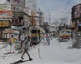Kolkata VII by Susanta Das, Impressionism Painting, Watercolor on Paper, Gray color