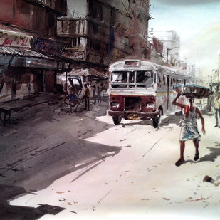 Kolkata V by Susanta Das, Impressionism Painting, Watercolor on Paper, Gray color
