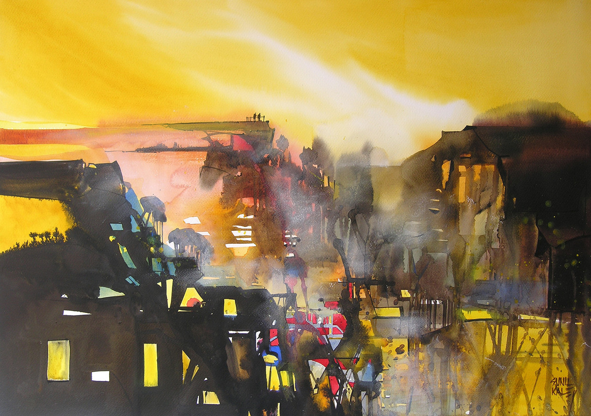 Mindscape - 10 by Sunil Kale, Impressionism Painting, Watercolor on Paper, Brown color