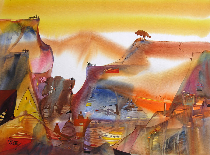 Mindscape - 14 by Sunil Kale, Impressionism Painting, Watercolor on Paper, Brown color