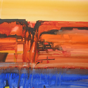 Mindscape 15 by Sunil Kale, Abstract Painting, Watercolor on Paper, Orange color