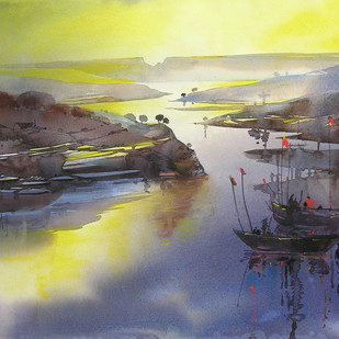 Riverscape - 74 by Sunil Kale, Impressionism Painting, Watercolor on Paper, Beige color