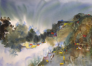 Mindscape 34 by Sunil Kale, Impressionism Painting, Watercolor on Paper, Brown color