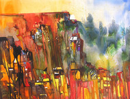 Mindscape - 51 by Sunil Kale, Impressionism Painting, Watercolor on Paper, Brown color