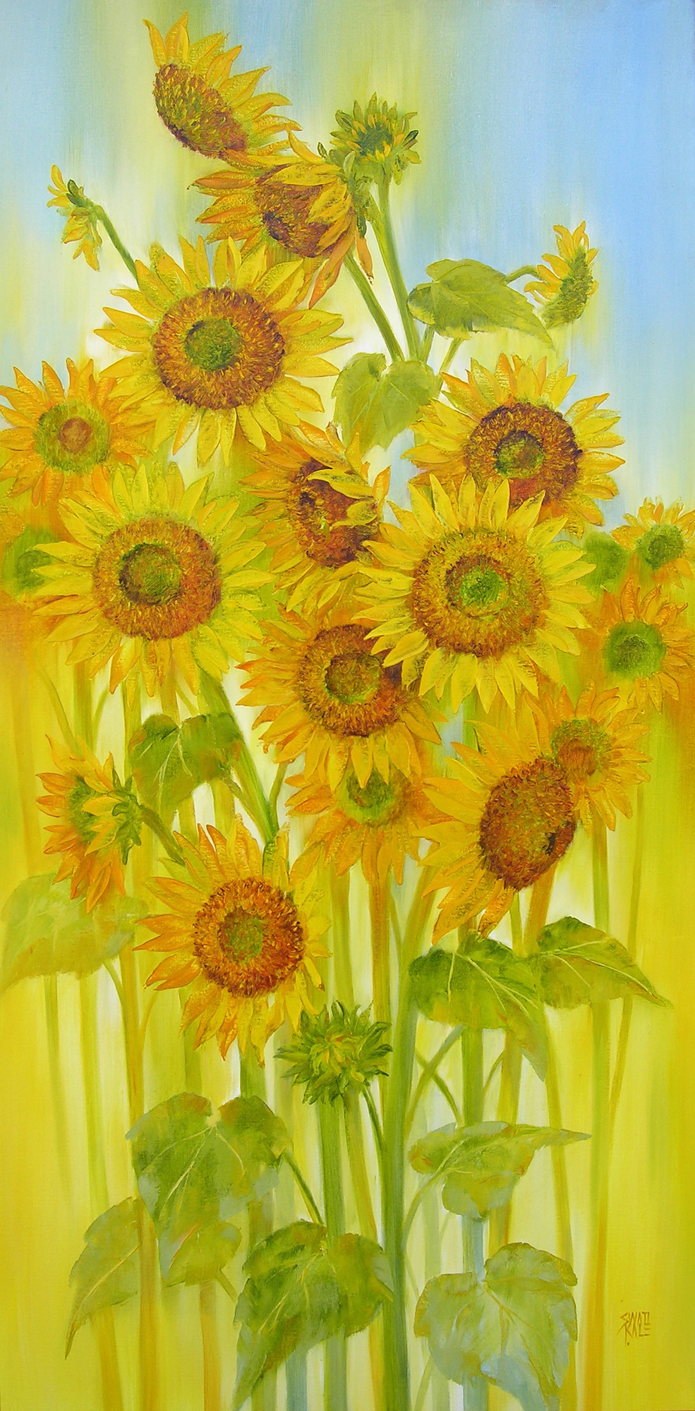 Sunflowers by Swati Kale, Impressionism Painting, Oil on Canvas, Green color