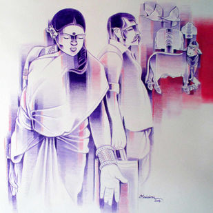 Untitled by Srinivas Tailor, Painting, Acrylic on Canvas, Pink color