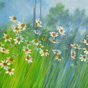 Flowers in the Mist by Swati Kale, Impressionism Painting, Oil on Canvas, Green color