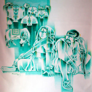 Untitled by Srinivas Tailor, Expressionism Painting, Acrylic on Canvas, Cyan color