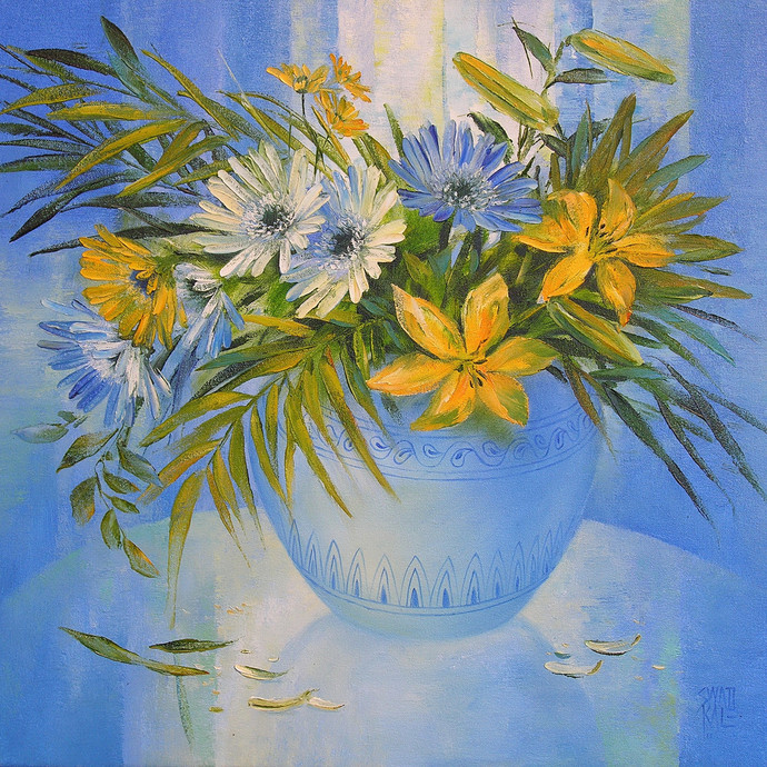 My Flowers by Swati Kale, Impressionism Painting, Oil on Canvas, Blue color