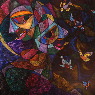 Happy Hours by Lipika Bala Chakraborty, Cubism Painting, Acrylic on Canvas, Brown color