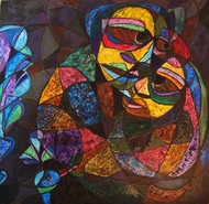 Assured Love by Lipika Bala Chakraborty, Cubism Painting, Acrylic on Canvas, Brown color