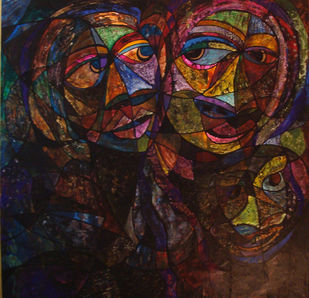 The Family by Lipika Bala Chakraborty, Cubism Painting, Acrylic on Canvas, Brown color