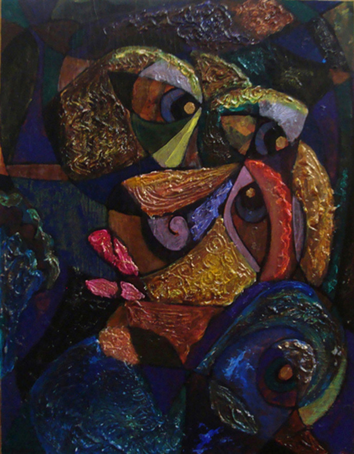 Mid-Night by Lipika Bala Chakraborty, Cubism Painting, Acrylic on Canvas, Blue color