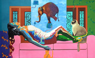 The History of Dreams and Reality by Gayatri Artist, Photorealism Painting, Acrylic on Canvas, Pink color