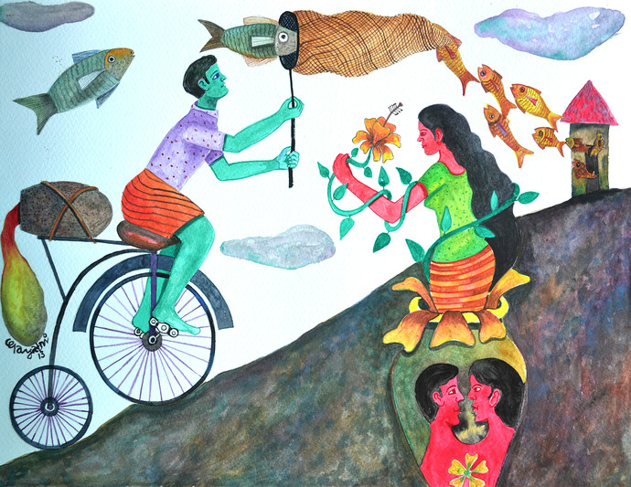 The History of Dreams and Reality by Gayatri Artist, Naive Painting, Watercolor on Paper, Cyan color