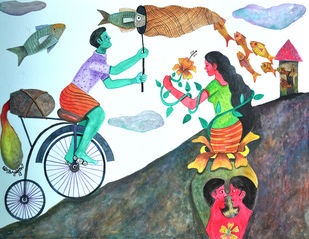The History of Dreams and Reality Digital Print by Gayatri Artist,Naive